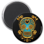 Sugar Skull with Roses, yellow and blue 6 Cm Round Magnet