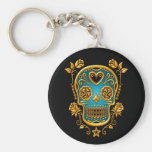 Sugar Skull with Roses, yellow and blue Basic Round Button Key Ring