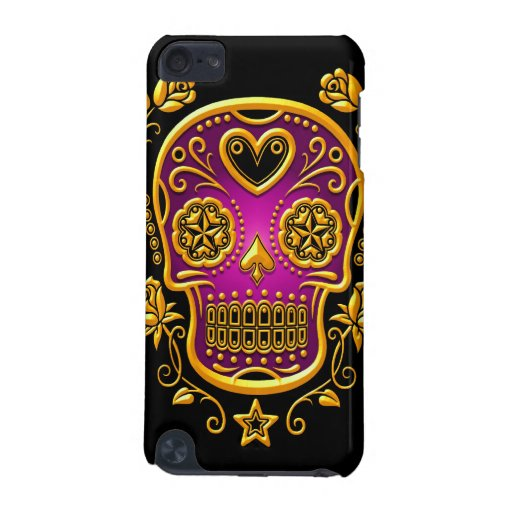 Sugar Skull with Roses, yellow and purple iPod Touch 5G Cases