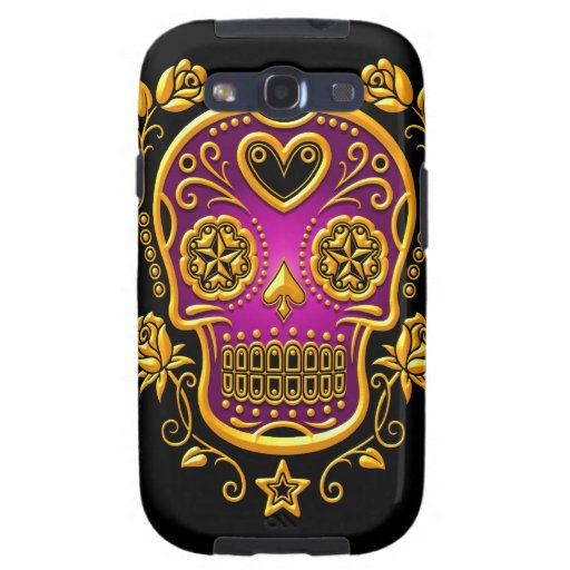Sugar Skull with Roses, yellow and purple Samsung Galaxy S3 Cases