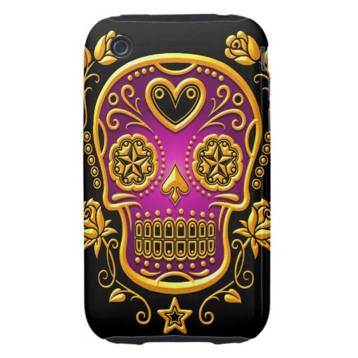 Sugar Skull with Roses, yellow and purple iPhone 3 Tough Cover