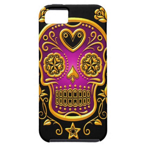 Sugar Skull with Roses, yellow and purple Case For The iPhone 5