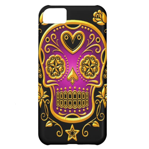 Sugar Skull with Roses, yellow and purple Case For iPhone 5C