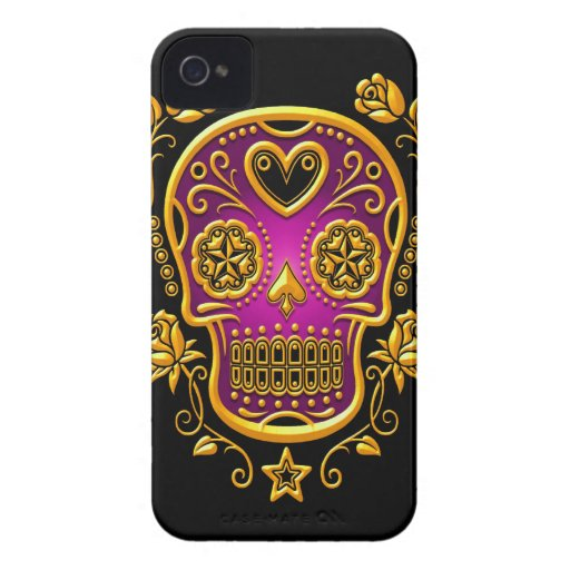 Sugar Skull with Roses, yellow and purple Blackberry Bold Cover