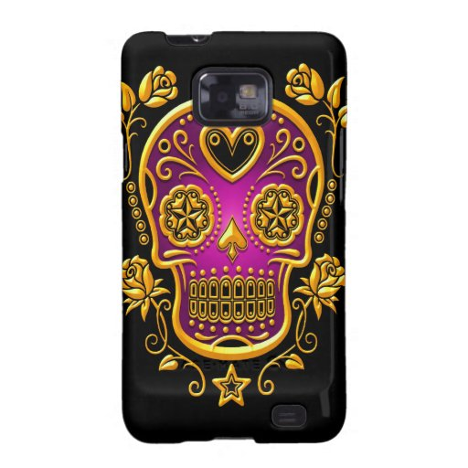 Sugar Skull with Roses, yellow and purple Samsung Galaxy S Cases