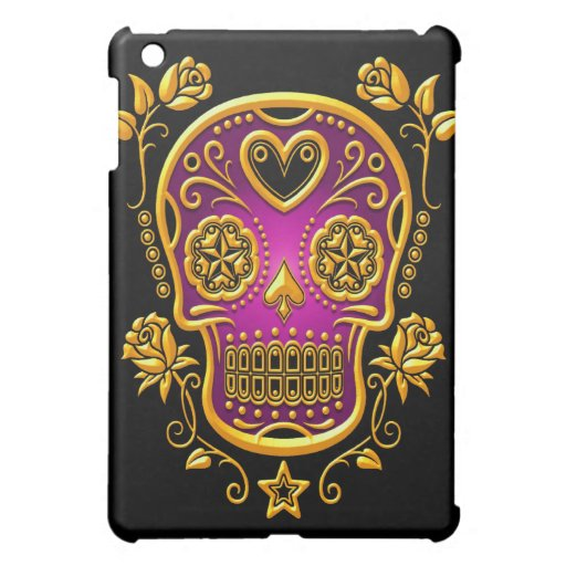 Sugar Skull with Roses, yellow and purple Case For The iPad Mini