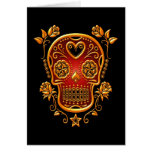 Sugar Skull with Roses, yellow and red