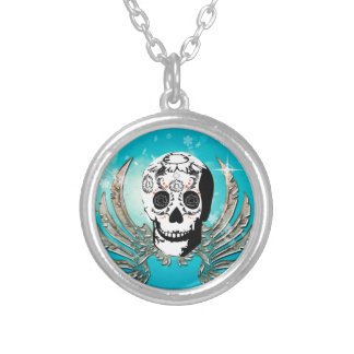Sugar skull with wings made of metal necklaces