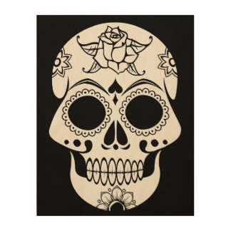 Sugar Skull Wood Wall Art
