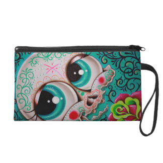 Sugar skull wrist bag wristlet clutch