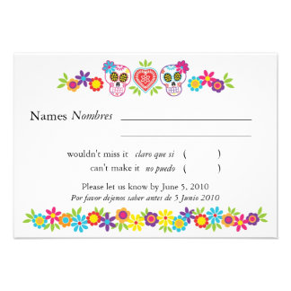 Sugar Skulls and Flowers RSVP Card
