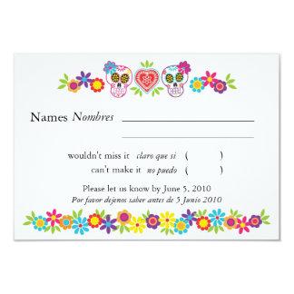 Sugar Skulls and Flowers RSVP Card Invitation