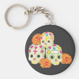 Sugar Skulls and Marigolds Basic Round Button Key Ring
