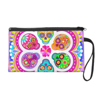 Sugar Skulls Bag - Clutch Cosmetic Accessory Wristlet