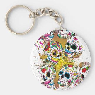 Sugar Skulls Basic Round Button Key Ring