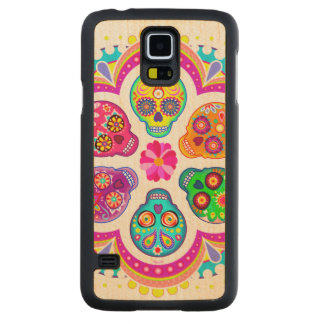 Sugar Skulls Carved Maple Galaxy S5 Case