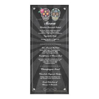 Sugar Skulls Chalkboard Wedding Party Menu 10 Cm X 24 Cm Invitation Card
