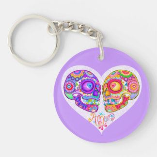 Sugar Skulls Couple Acrylic Keychain - Colorful