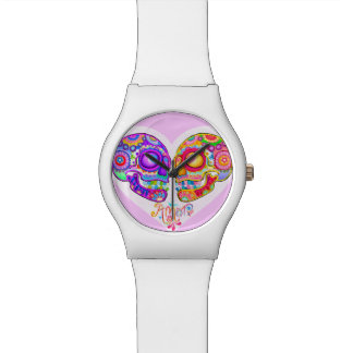 Sugar Skulls Couple Watch Wristwatch - Cool Art