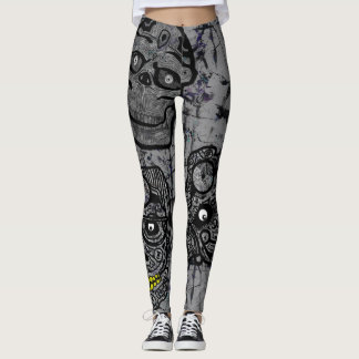 SUGAR SKULLS GOTHIC BLACK by Slipperywindow Leggings