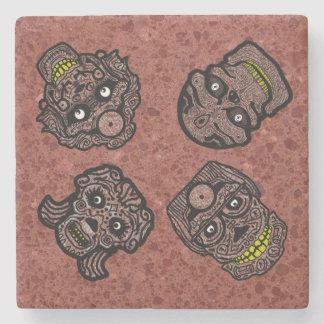 SUGAR SKULLS GOTHIC RED by Slipperywindow Stone Coaster