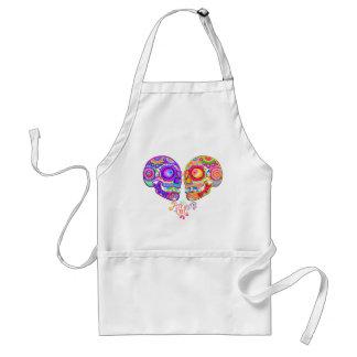 Sugar Skulls Love Couple Apron - Colorful Art