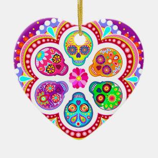 Sugar Skulls Ornament - Colourful Day of the Dead