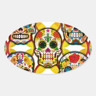 Sugar Skulls Oval Sticker