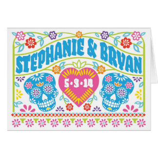 Sugar Skulls Papel Picado Folded Invitation