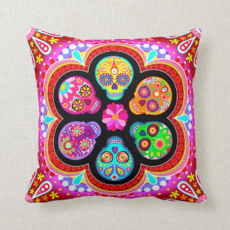 Sugar Skulls Pillow - Day of the Dead Art Cushion