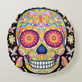 Sugar Skulls Round Pillow - Day of the Dead Art
