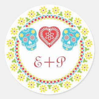 Sugar Skulls round sticker