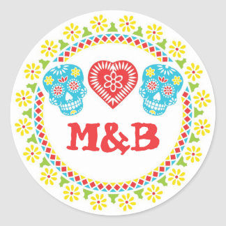 Sugar Skulls round sticker