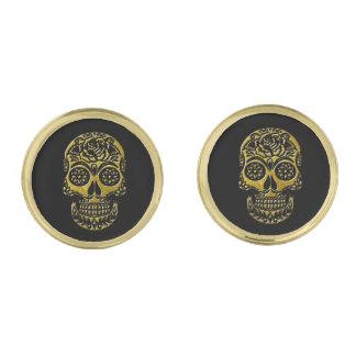 Sugar Skulls Your Background Color Gold Finish Cufflinks