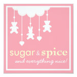 Sugar & Spice Girl Baby Shower Invitation 13 Cm X 13 Cm Square Invitation Card