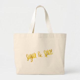 Sugar & Spice Quote Faux Gold Foil Glitter Large Tote Bag