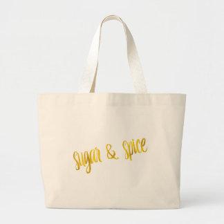 Sugar & Spice Quote Faux Gold Foil Glitter Jumbo Tote Bag