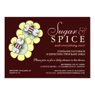 Sugar & Spice Twin Girl Baby Shower Invitation