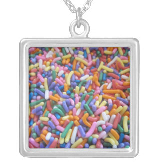 Sugar Sprinkles Square Pendant Necklace