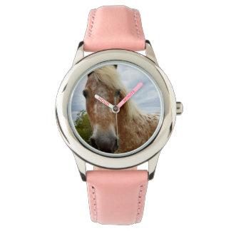 Sugar The Appaloosa Horse Girls Pink Leather Watch