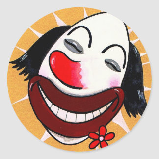 Sugar Weasel the Clown Cartoon Head Classic Round Sticker