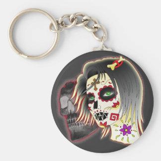 sugarskull lady key ring