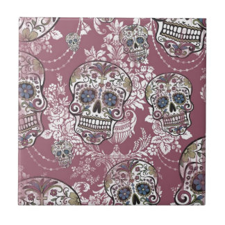 Sugary Sweet Mellow Sugar Skull. Tile
