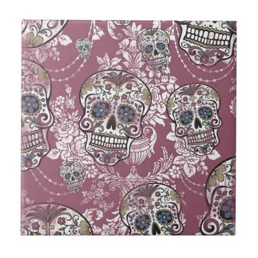 Sugary Sweet Mellow Sugar Skull. Tiles
