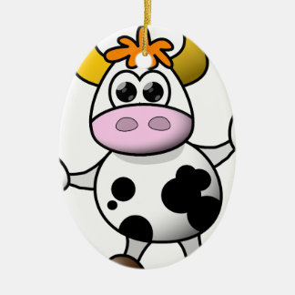 Suggestive cow ceramic oval decoration
