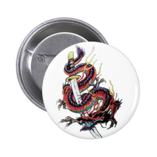 Sui Riu Japanese Dragon Katana 6 Cm Round Badge