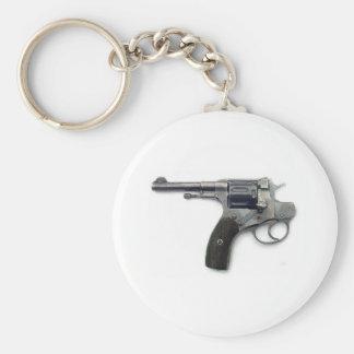 Suicide gun basic round button key ring