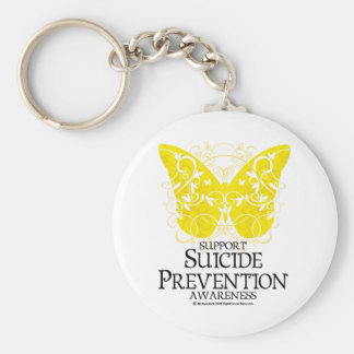 Suicide Prevention Butterfly Basic Round Button Key Ring