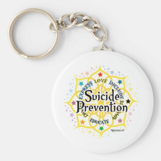 Suicide Prevention Lotus Basic Round Button Key Ring