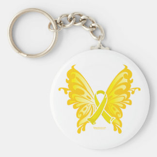 Suicide Prevention Ribbon Butterfly Basic Round Button Key Ring